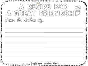 recipe for friendship template enemy pie friendship writing activities ladybug s