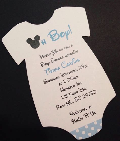Blue Mickey Mouse Onesie Baby Shower Invitation   All Wording Customized for You   eBay