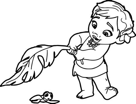 painting and coloring toddler moana coloring page wecoloringpage