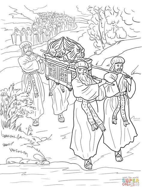 coloring page crossing the jordan river joshua and the israelites cross the jordan river coloring