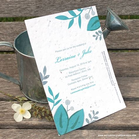 teal wedding invitation kits seed paper printable wedding invitations kit plantable wedding invitations catalog