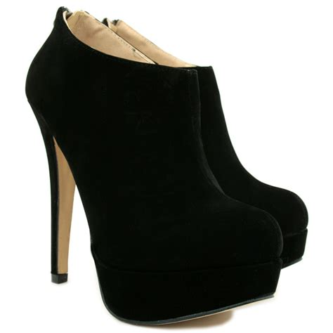 new womens suede style stiletto heel platform zip ankle