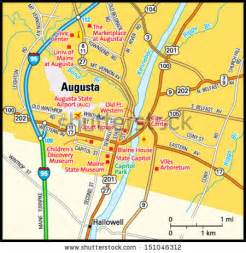 map of augusta and surrounding area augusta maine area map stock vector