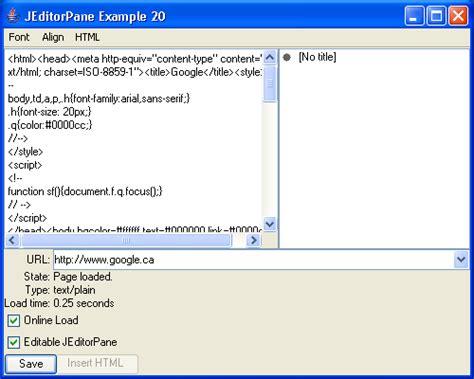 java swing line jeditorpane exle 20 text editorpane 171 swing jfc 171 java