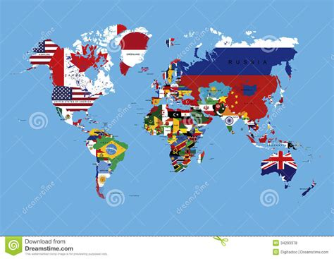 world map with country names vector world map colored in countries flags names stock
