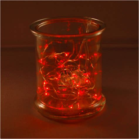 3 battery operated bright red 20 led micro rice christmas