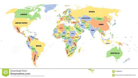 world map with country name political political map of world stock illustration image of