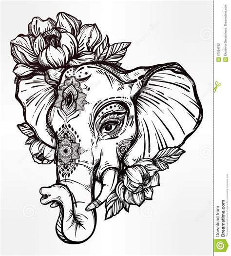 decorative elephant with tribal ornament flowers stock