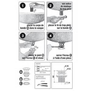 bonde culbuto 224 clapet rotatif pour vasque avec trop plein