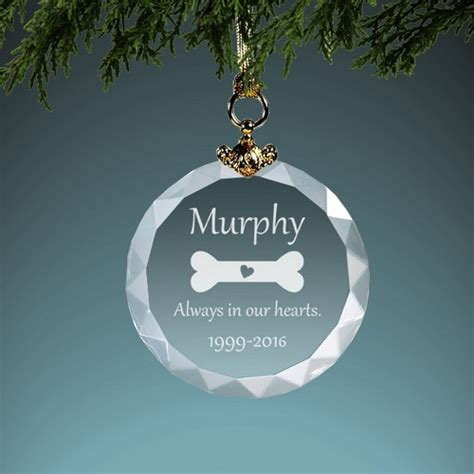 dog memorial personalized crystal christmas ornament