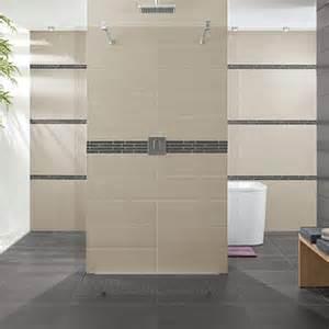 carrelage design salle de bain beige gris timeline