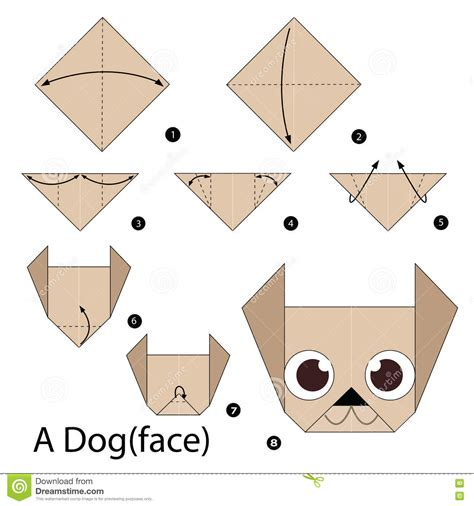 How To Make A Origami Puppy - step by step how to make origami a stock