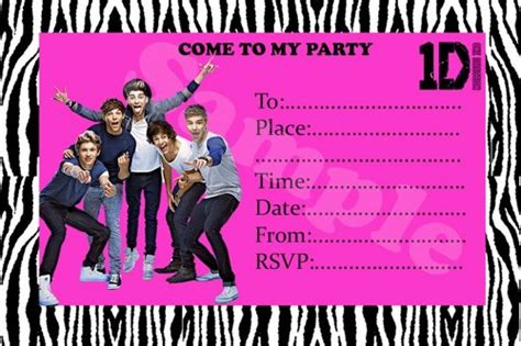 one direction birthday card template birthday invitation printable free one direction