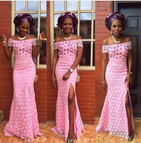 latest and most beautiful yoruba traditional wedding outfits pretty and simple style pink aso ebi long dress nigerian
