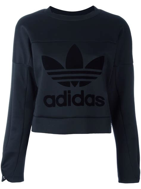 adidas trefoil logo sweatshirt black womens sweatshirts adidas online store factory direct