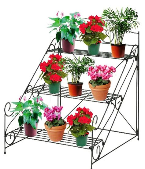 design flower pots stand 3 tier garden plant pot display etagere stand flower patio