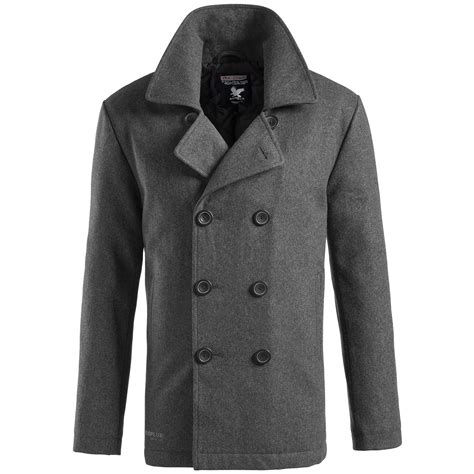 winter coat surplus classic navy pea coat warm mens winter wool reefer jacket anthracite
