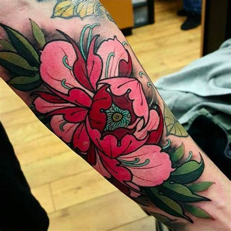 japanese peony flower tattoo design for sleeve