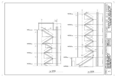 stair section cork factory apartments pittsburgh pa drawings by james