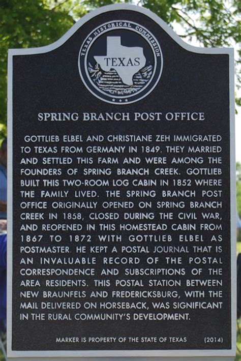 comal county historical commission spring branch post office