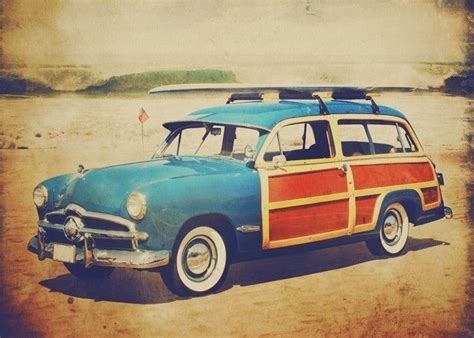 vintage surf car vintage woody car with surfboard beep beep