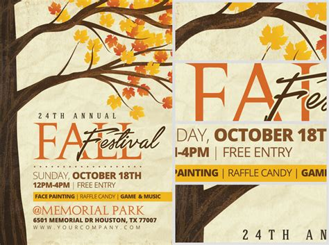 fall festival flyer template rustic fall flyer template flyerheroes