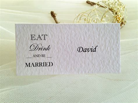 Eat Gift Card - eat drink and be married place cards wedding stationery