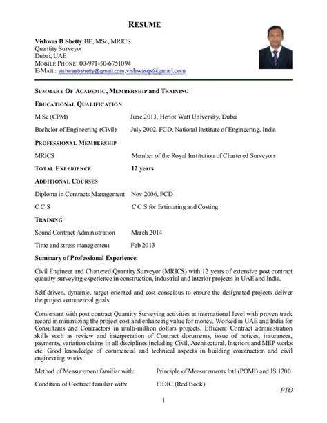 appointment letter for quantity surveyor 1 resume vishwas b shetty be msc mrics quantity surveyor