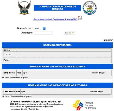 consultar infracciones de transito por placa consulta de infracciones de tr 225 nsito en ecuador por internet