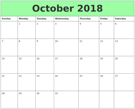printable calendar october 2018 october 2018 printable calendars