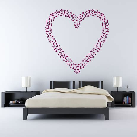 heart wall stickers for bedrooms heart outline musical notes music wall stickers wall art