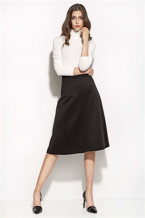 black textured midi length seam skirt
