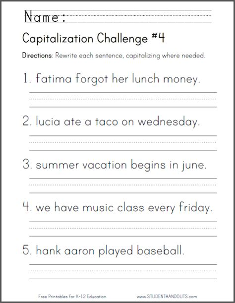 printable worksheets on capitalization and punctuation click here to print this worksheet