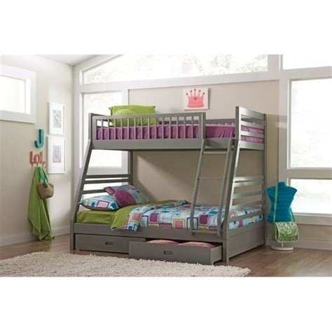 bunk bed box spring bowery hill twin over full bunk bed with drawers in gray