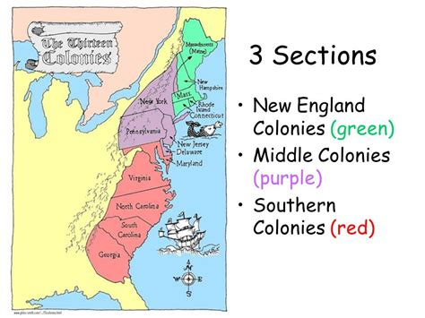 13 Colonies Sections by The Thirteen Colonies Ppt