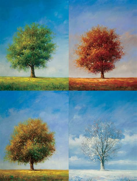 Painting 4 Seasons by Tree Of Four Seasons Canvas Painting