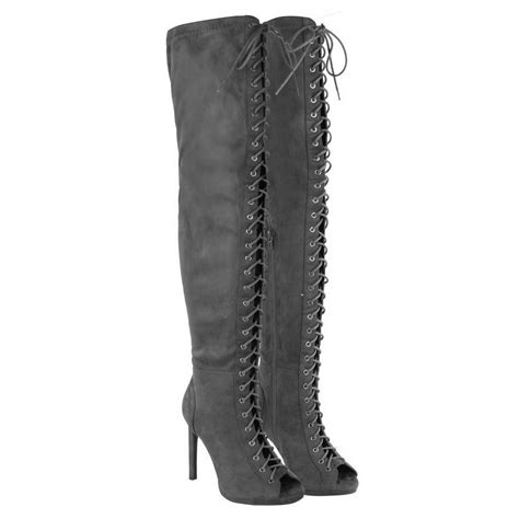 peep toe thigh boots womens thigh high the knee peep toe lace up