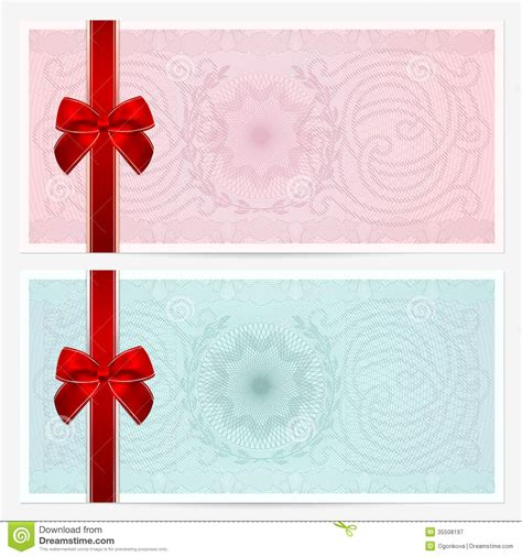 gift certificate voucher coupon bow guilloche stock image image