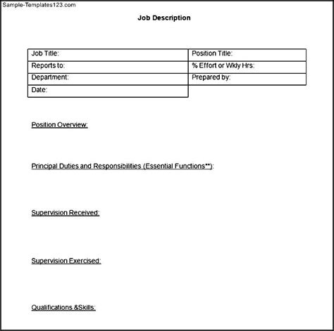 creating a description template blank description template sle templates
