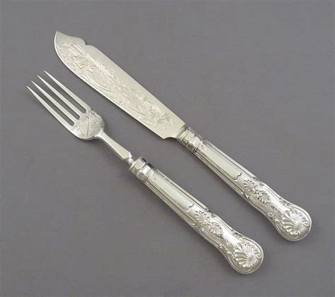 kings pattern knives and forks kings pattern silver fish service by george adams j h