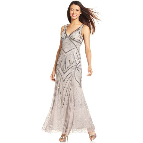 silver beaded gown patra sleeveless beaded vneck gown in silver lyst