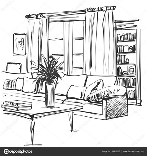 Living Room Interior Sketch Table by Sketch Of Modern Living Room Interior With A