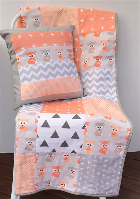 Cot Quilt Patchwork Patterns - patchwork cot quilt w baby foxes and gray patterns