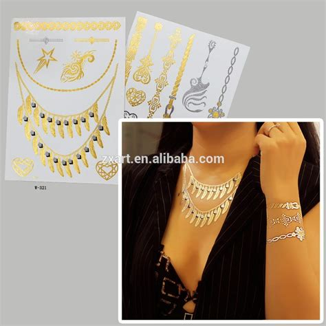 gold tattoo printer paper printing body tattoos temporary gold sticker jewelry