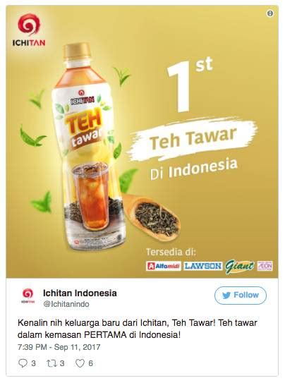 Teh Ichitan Di Indo teh botol kok tawar netizen pun kasih respons yang kocak