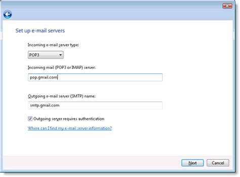 format email html gmail e mail configuration for windows mail