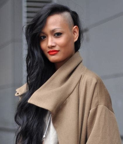 long wavy hair woman with undercut haircut picture