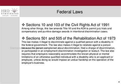 sections 501 and 505 of the rehabilitation act of 1973 human resources employment law 2015 hrd strategies