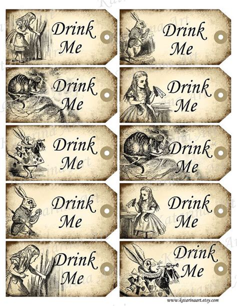 vintage gift tags 2014 wallquotes drink me tags in printable gift hang