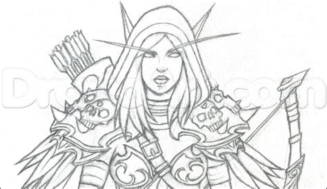 how to draw sylvanas how to draw sylvanas windrunner from world of warcraft step by step video game characters pop